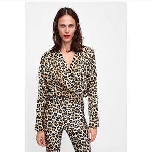 ZARA Leopard Satin Bodysuit